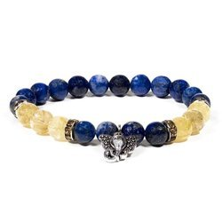 Armband aus Lapis Lazuli und Rutilquarz mit Ganesha