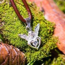 Engel mit Zirkonia aus Silber 925