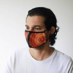 Modische Schutzmaske - Oranges Mandala