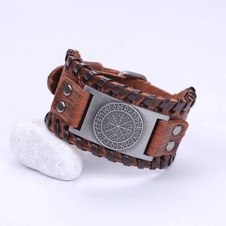 Braun Lederarmband - Antike Silber
