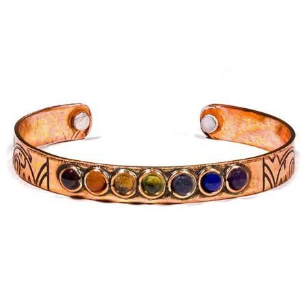 Magnetisch Armband aus Kupfer mit 7 Chakramineralien